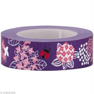 Fun tape Fleurs Lilas 15 mm x 10 m
