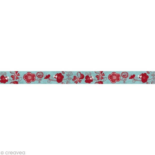 Fun tape Fleurs Bleu clair 15 mm x 10 m - Photo n°2