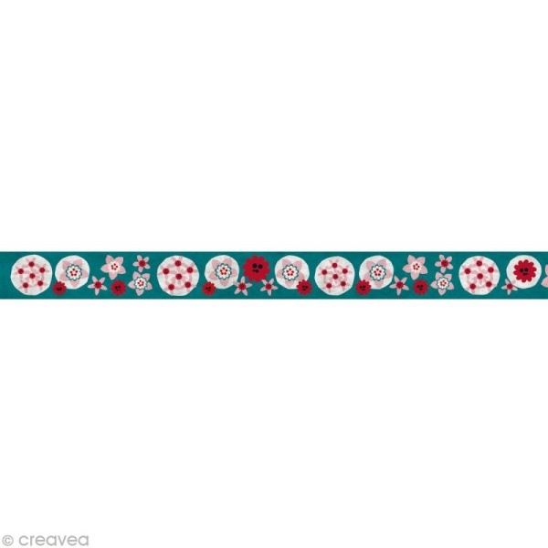 Fun tape Fleurs Turquoise 15 mm x 10 m - Photo n°2