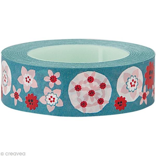Fun tape Fleurs Turquoise 15 mm x 10 m - Photo n°1