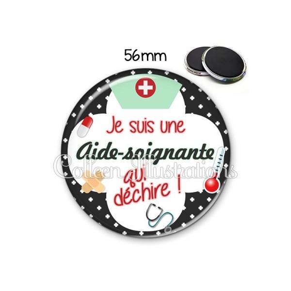Magnet 56mm Aide-soignante qui déchire - Photo n°1