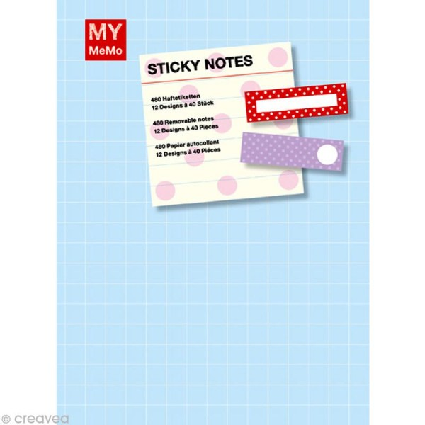 Carnet de notes adhesives fantaisies Sticky notes - Pois x 480 - Photo n°2