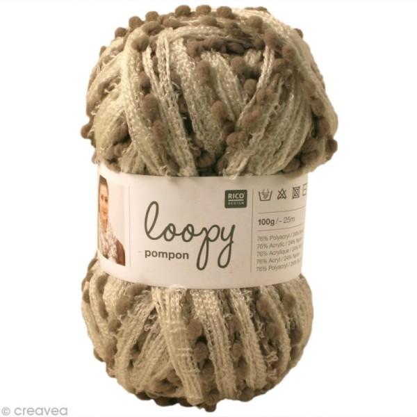 Laine écharpe Loopy pompon - Crème et taupe 100 g - Photo n°1
