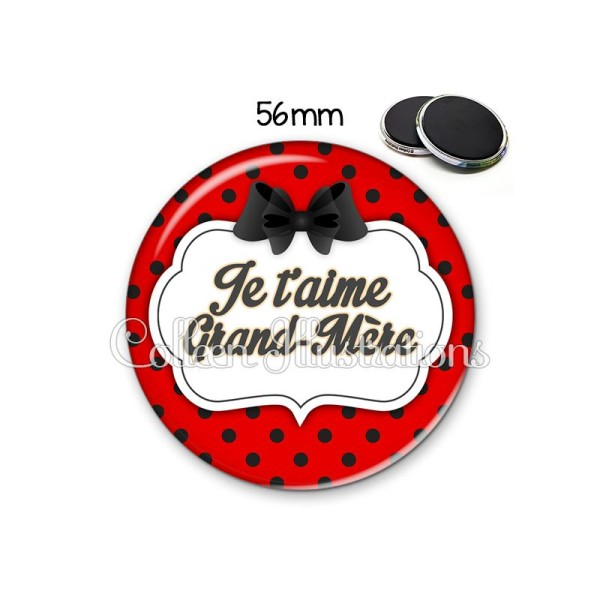Magnet 56mm Grand-mère je t'aime - Photo n°1
