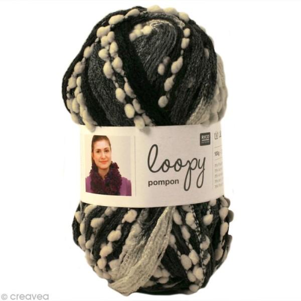 Laine écharpe Loopy pompon - Dégradé noir et blanc 100 g - Photo n°1