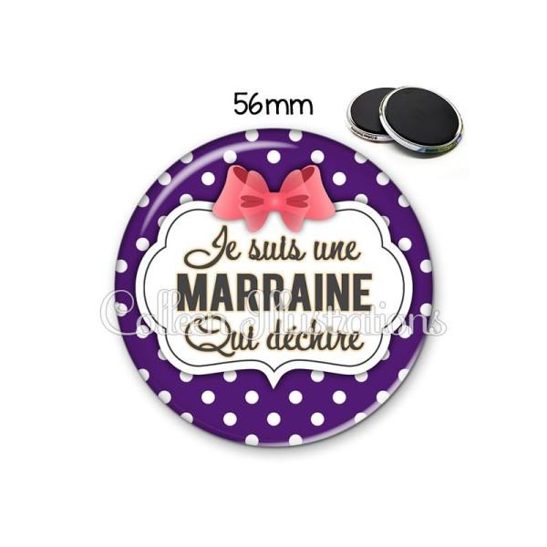 Magnet 56mm Marraine qui déchire - Photo n°1