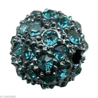 Perle Shamballa Strass Métal - 6 mm Turquoise