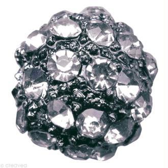 Perle Shamballa Strass Métal - 10 mm Hématite