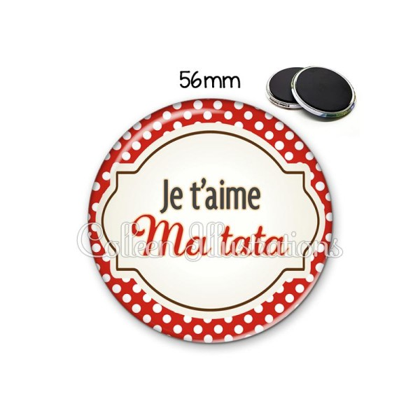 Magnet 56mm J'aime ma tata - Photo n°1