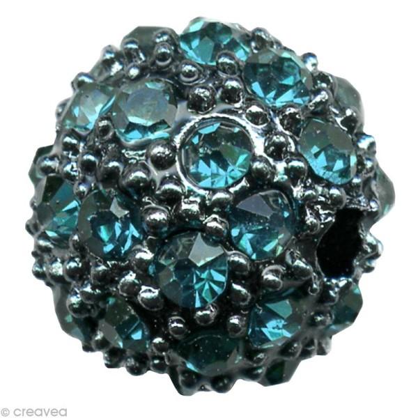 Perle Shamballa Strass Métal - 10 mm Turquoise - Photo n°1
