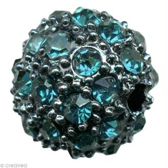 Perle Shamballa Strass Métal - 10 mm Turquoise