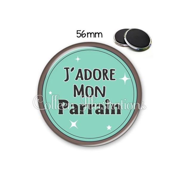 Magnet 56mm J'adore mon parrain - Photo n°1