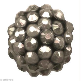 Perle Shamballa Strass Résine - 12 mm Hématite