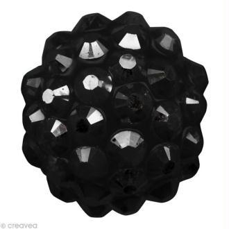 Perle Shamballa Strass Résine - 12 mm Noir
