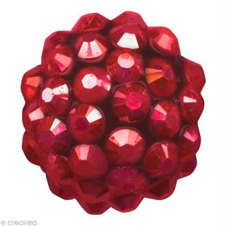 Perle Shamballa Strass Résine - 12 mm Rouge