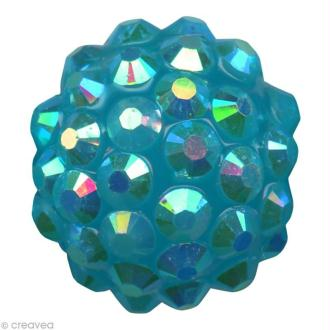 Perle Shamballa Strass Résine - 12 mm Turquoise