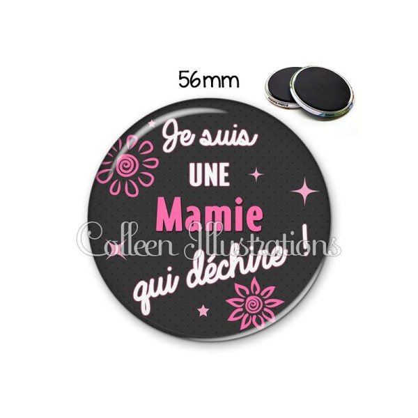 Magnet 56mm Mamie qui déchire - Photo n°1