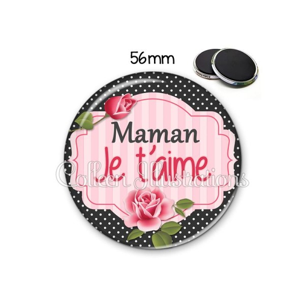 Magnet 56mm Maman je t'aime - Photo n°1
