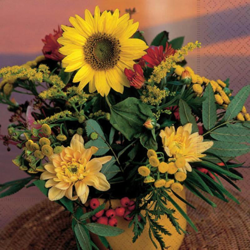 Serviette en papier Fleur Bouquet tournesol - Serviettes en papier - Creavea