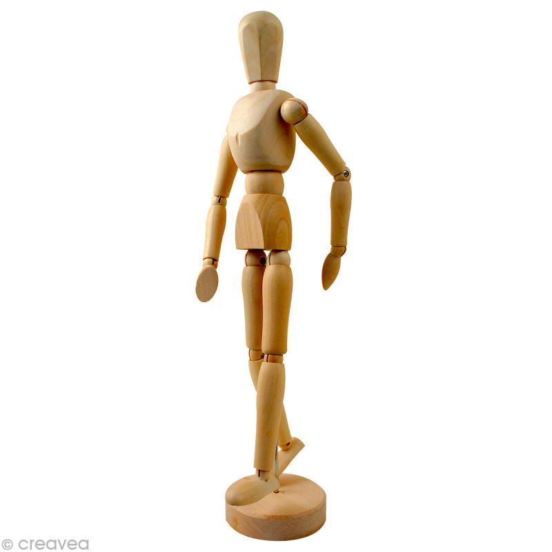 mannequin articul en bois homme 30 cm accessoires peinture divers creavea. Black Bedroom Furniture Sets. Home Design Ideas