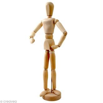 Mannequin articulé en bois - Femme 30 cm