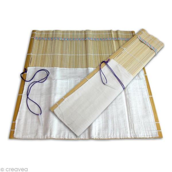 Housse de pinceaux en bambou - 9 rangements 30 cm - Photo n°1