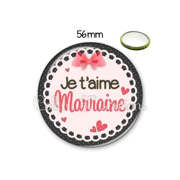 Miroir 56mm Marraine je t'aime - Photo n°1
