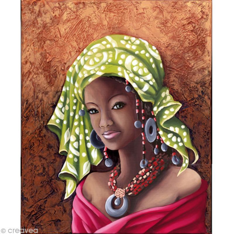 image 3d femme africaine 40 x 50 cm images 3d 40x50 cm creavea. Black Bedroom Furniture Sets. Home Design Ideas