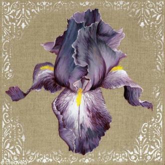 Image 3D Fleur - Iris violet - 30 x 30 cm