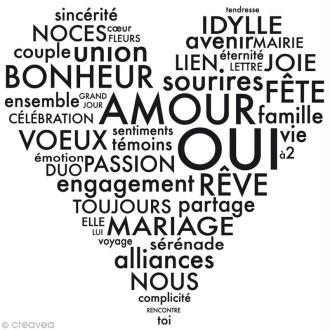Tampon Mariage - Soho urbain - Coeur de mots - 7 x 7 cm
