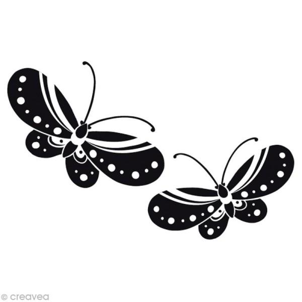 Tampon Mariage - Romantique campagne - Couple papillons - 6 x 4 cm - Photo n°1