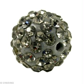Perle Shamballa 7 mm - Noir diamant