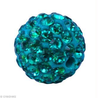 Perle Shamballa 7 mm - Bleu zircon