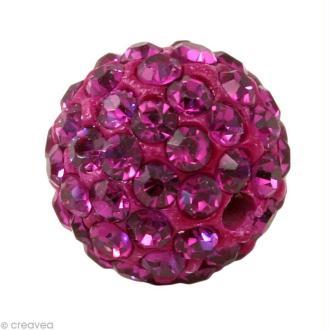 Perle Shamballa 7 mm - Rose fuchsia