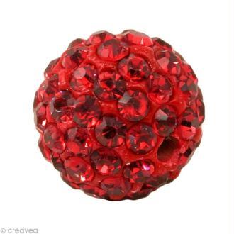 Perle Shamballa 7 mm - Rouge grenat