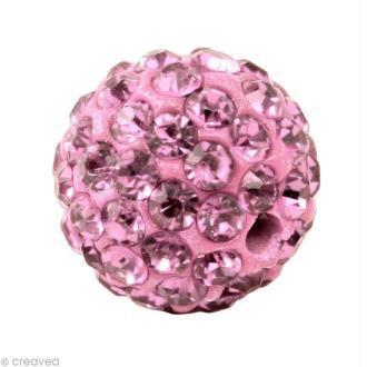 Perle Shamballa 7 mm - Rose clair