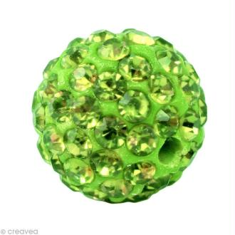 Perle Shamballa 7 mm - Vert péridot