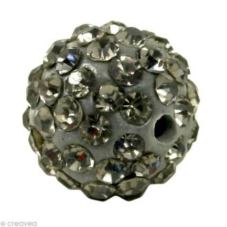 Perle Shamballa 10 mm - Noir diamant