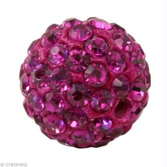 Perle Shamballa 10 mm - Rose fuchsia