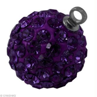 Perle Shamballa pendentif 10 mm - Violet améthyste