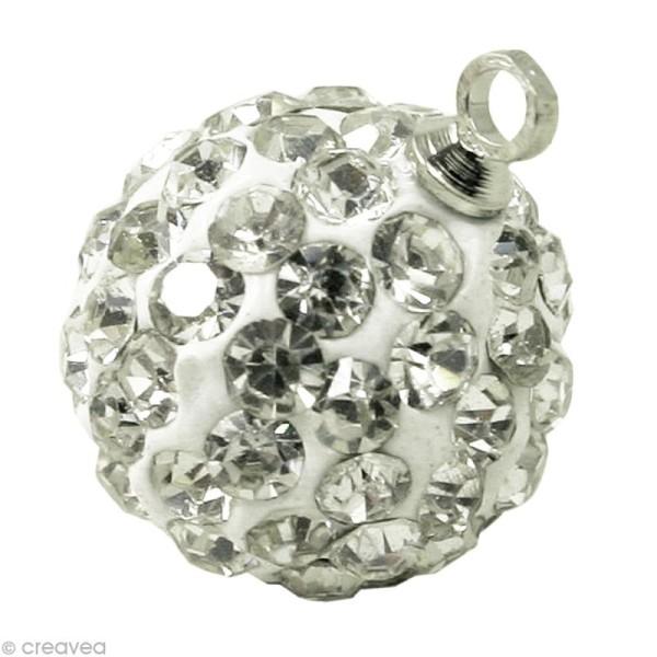 Perle Shamballa pendentif 10 mm - Cristal - Photo n°1