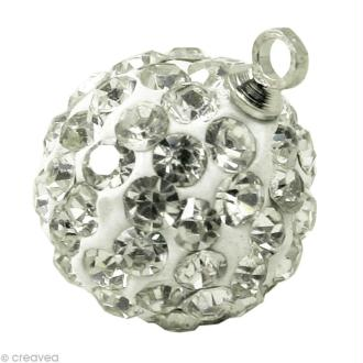 Perle Shamballa pendentif 10 mm - Cristal