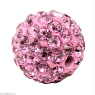 Perle Shamballa 10 mm - Rose clair