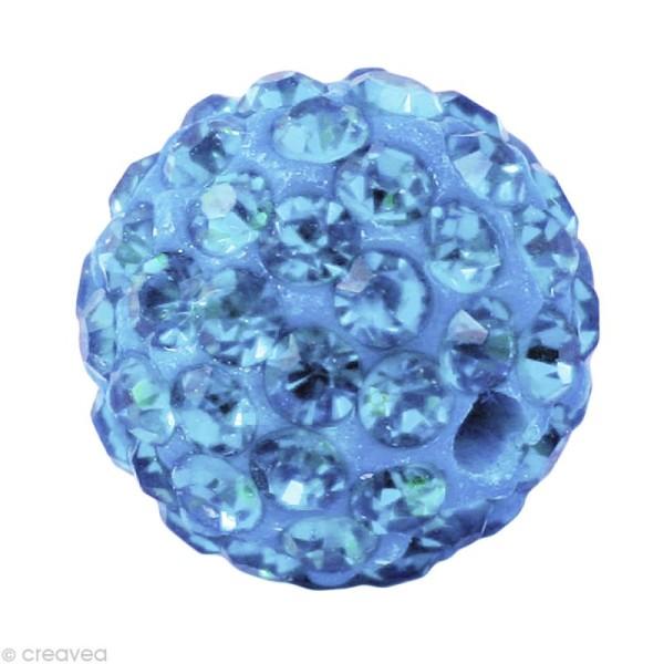 Perle Shamballa 10 mm - Bleu saphir clair - Photo n°1