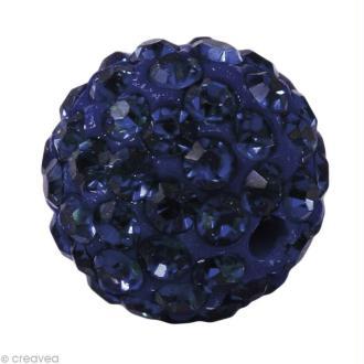 Perle Shamballa 10 mm - Bleu montana