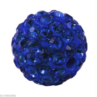 Perle Shamballa 10 mm - Bleu saphir