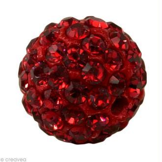 Perle Shamballa 10 mm - Rouge siam