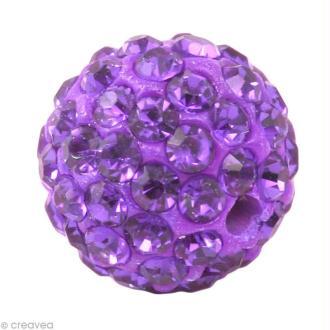 Perle Shamballa 10 mm - Violet tanzanite