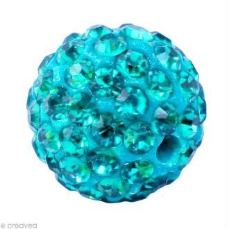 Perle Shamballa 10 mm - Bleu turquoise