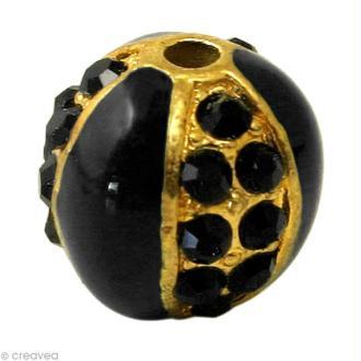 Perle Shamballa 10 mm Métal doré - Noir